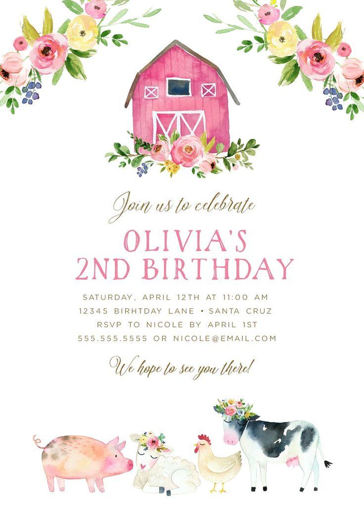 Farm Birthday Party Girl, Barnyard Birthday Theme, Invitations for Farm Animals Birthday, Edit & Print today!
