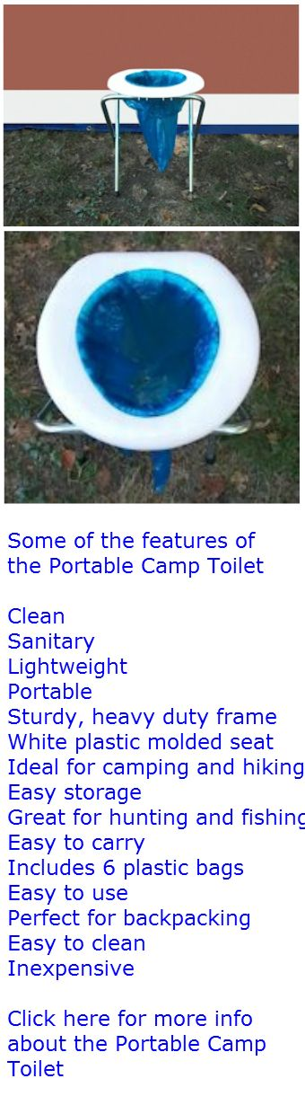 Tags: #camping, #outdoor survival, #survival. If you go camping in areas that don't offer many modern facilities, you will definitely want a Portable Camp Toilet, especially for any nighttime bathroom trips. $19.99. Click here for more info: http://www.youroutdoorsurvival.com/Portable-Camp-Toilet.html