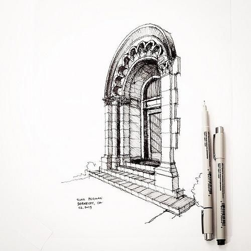 Julia Morgan. Uses a lovely set of lines to strongly convey a sense of stone. She uses her lines in such a way that manage to show wonderful depth.