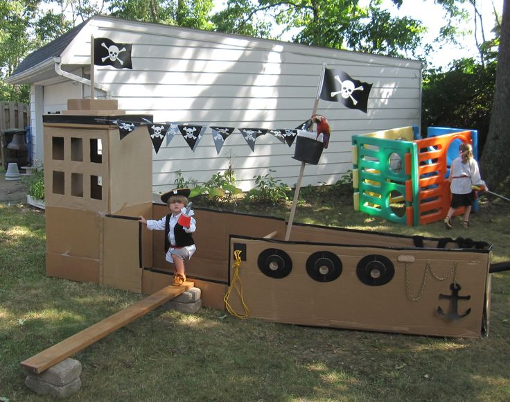 My ship completed August 26, 2012 Cardboard pirate ship for Princess and Pirate Party. Princesses arrived at party only to find out the pirate had stolen the treasure, they had to disguise themselves as pirates to get back the loot.