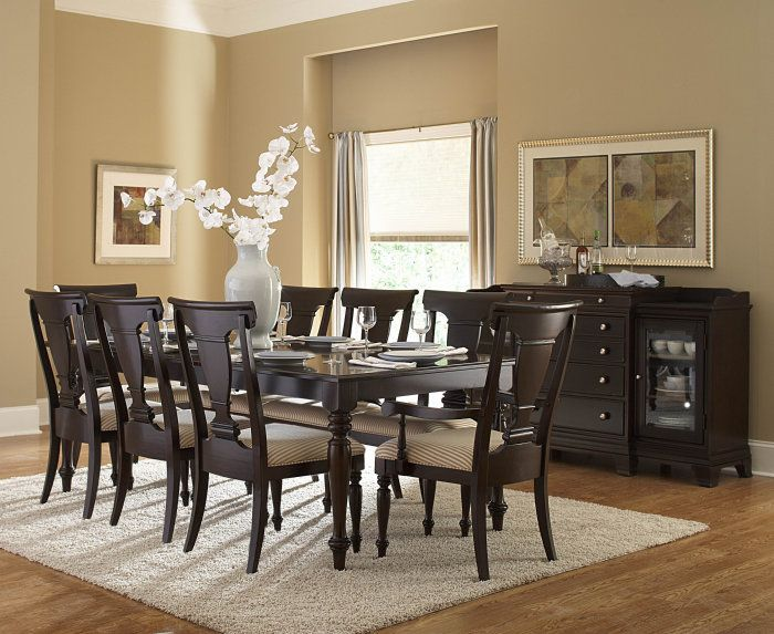 7 Pc Inglewood Collection Dark Cherry Finish Wood Dining Table Set With Padded Seats And Turned Legs