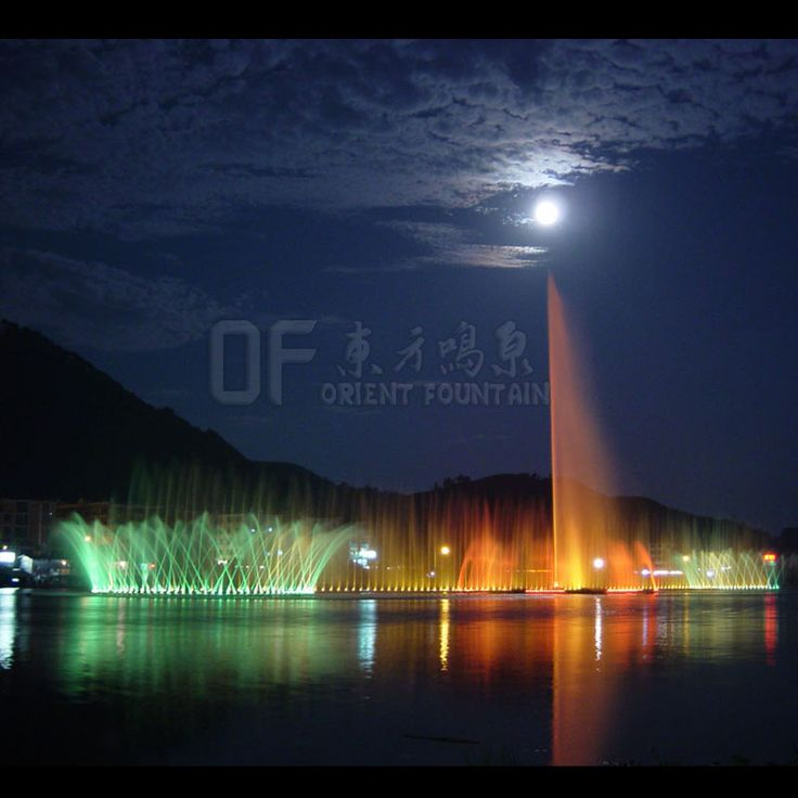 Floating music fountain in lake