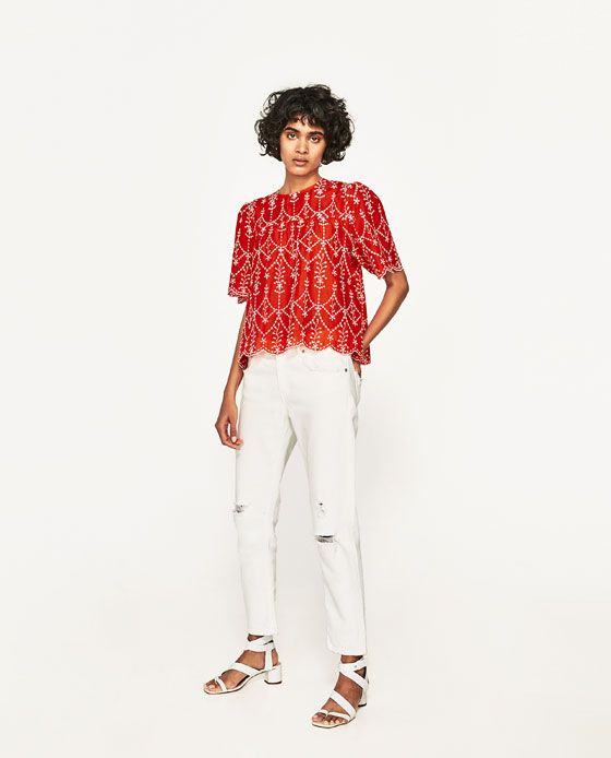 ZARA - WOMAN - CONTRASTING EMBROIDERED TOP