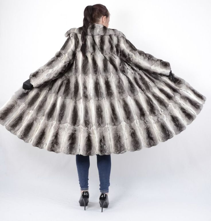 US1028 GRACEFUL SOFTY REAL CHINCHILLA FUR COAT JACKET No Mink PELZMANTEL  #HandmadeinGermany #BasicJacket #Outdoor