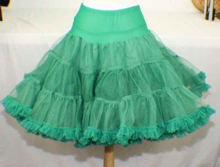 Vintage Sams Green Can Can Petticoat Tulle Costume Square Dance Slip J43 #Sams