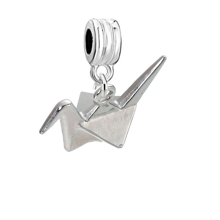 SEXY SPARKLES 3D Origami Bird Paper Crane Flapping Bird Dangling Charm Spacer Bead compatible with European Charm Bracelets