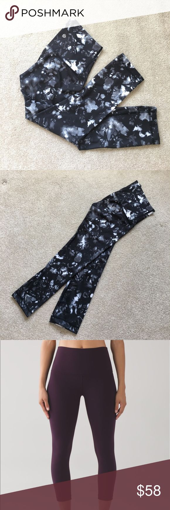 "Lululemon Wunder Under Crop (Hi-Rise) 21"" _Size 2 Lululemon Wunder Under Crop (Hi-Rise) FULL-ON LUON 21"" in size 2. The pattern is a black and white water color in picture 1&2. Sorry I couldn't find any stock photos so I used different color stock photos to show what they look on person. In like new condition! Only wore twice, and hand washed only. Never been in the washer or dryer. No tears or pilling. True to size lululemon athletica Pants Ankle & Cropped"
