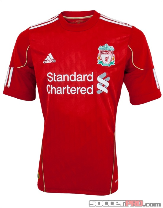 The adidas Liverpool Home Jersey for 2010-2012 is the classic red Liverpool shirt...and it looks legit...$55.99