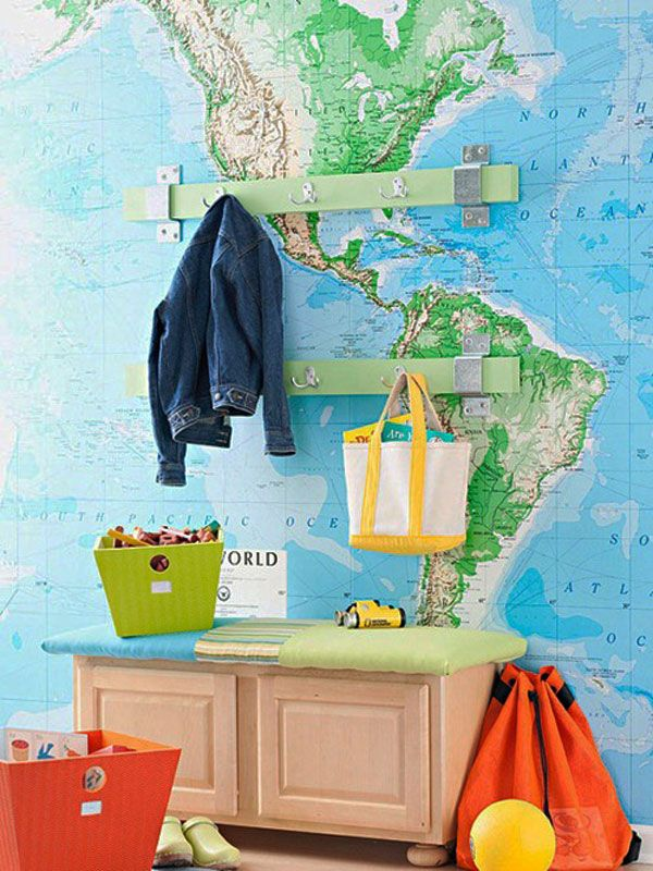 world map decorating, decorating ideas, world map wallpaper, home decor