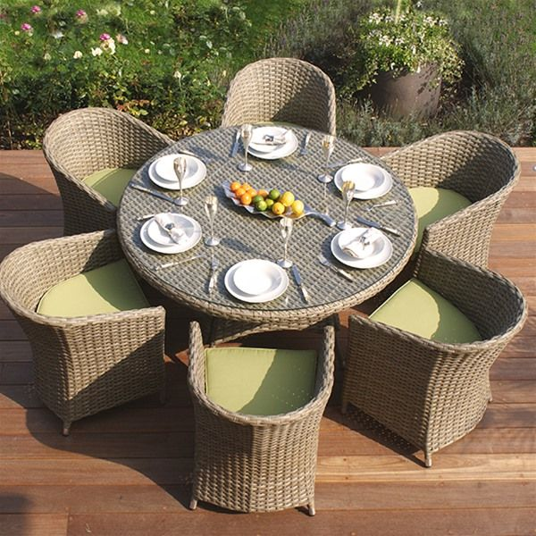 Maze Rattan Natural Milan 6 Seat Dining Set With Rounded Chairs