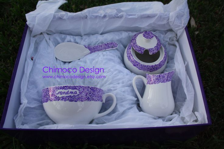 Custom set in purple with 'Grandma' written on the mug. To see what I can do for you, visit www.chimocodesign.etsy.com