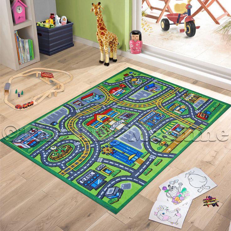Children's Play Village Mat Town City Roads Rug 140cm X