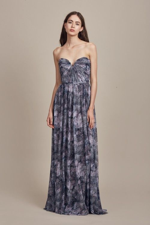 Bridesmaid Dress: Printed Tulle Shown in Graphite and Fawn