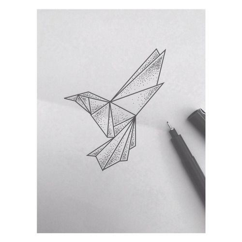 #origami #hummingbird #kolibri #bird #tattoo #ink #art #dots #dotwork #blackwork #linework