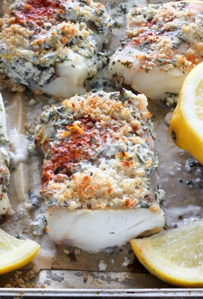 20 Minute Lemon, Garlic, and Herb Baked Cod: 1½ T olive oil; 1½ C whole wheat panko breadcrumbs (#paleo BREAD CRUMBS here: http://paleomagazine.com/how-to-make-paleo-bread-crumbs/ ); ⅓ C full-fat Greek yogurt; 3 T Parmesan cheese; ¼ C fresh parsley;  ¼ C fresh basil; 2 -3 garlic cloves; 1 large lemon, juice and zest, divided;  ¾ tsp fine sea salt, more if needed (adjust according to taste);  ½ tsp paprika; ¼ tsp black pepper; 4 (8 ounce) Alaskan Cod fillets