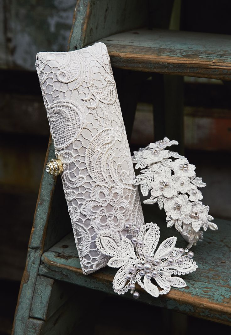 The new 'Kyla' clutch is a gorgeously crocheted accessory to complete your bridal look. davidsbridal IDEA