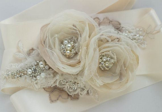 Champagne Bridal sash wedding belt, Rustic Shabby chic Vintage floral Beige Tan Nude Ivory Creamy, silver rhinestone accessory, gown sash on Etsy, $94.00
