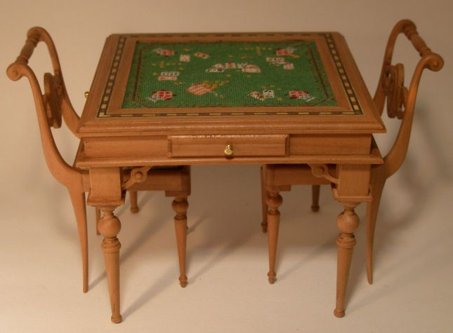Card Table w/Four Chairs by Taller Targioni - $995.00 : Swan House Miniatures, Artisan Miniatures for Dollhouses and Roomboxes