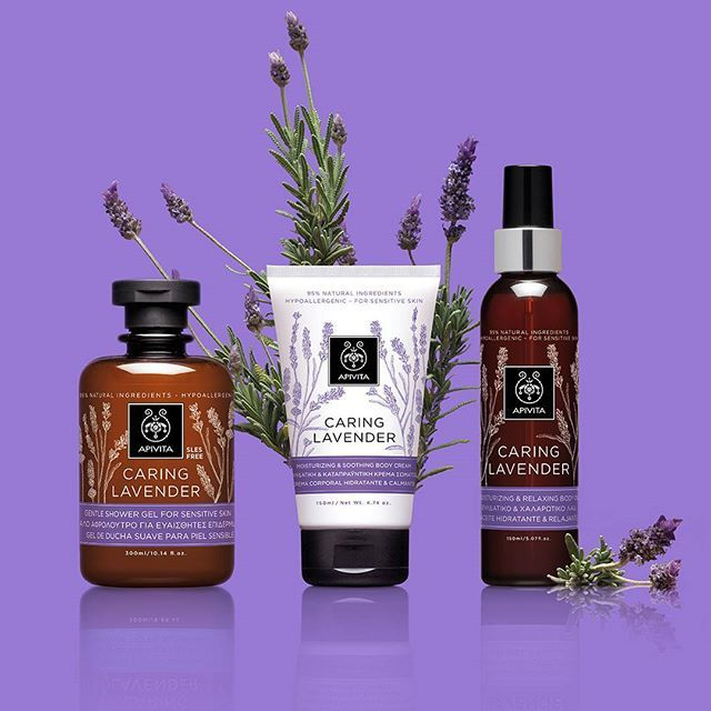 Just landed! Caring Lavender is #apivita's new body care line with #lavender and…