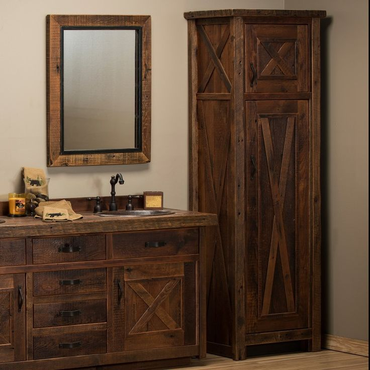 Reclaimed Barn Wood Barn Door Linen Closet Lake Cabin Barnwood Bathroom Vanity Bathroom