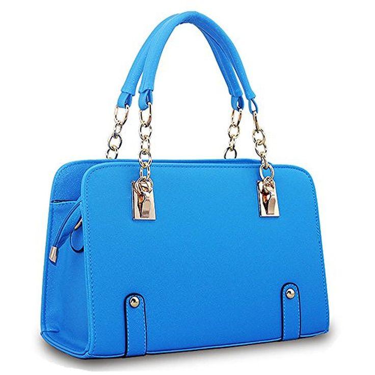 Bingirl Fashion Women Simple Style PU Leather Padlock Clutch Handbag Bag Totes Purse
