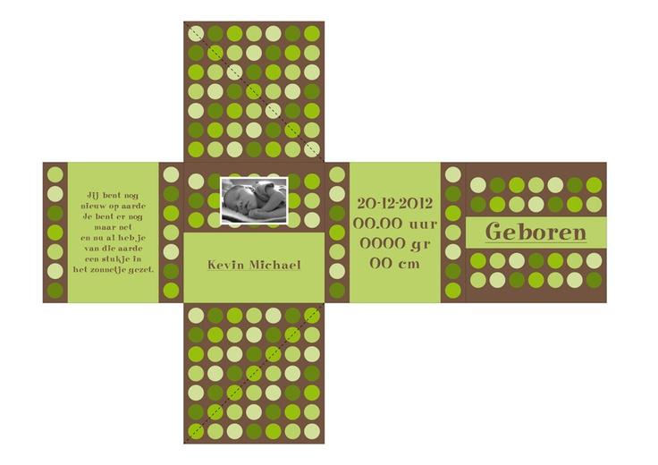 Out of the Box Card Geboortekaartjes Dots Groen