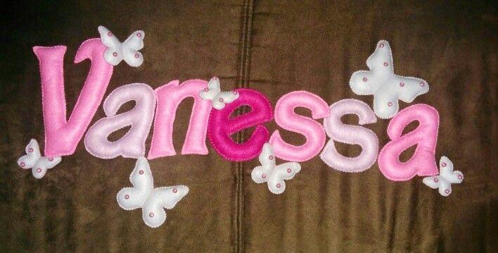 #fattoamano #pannolenci #feltro #nome #vanessa #rosa #farfalle
