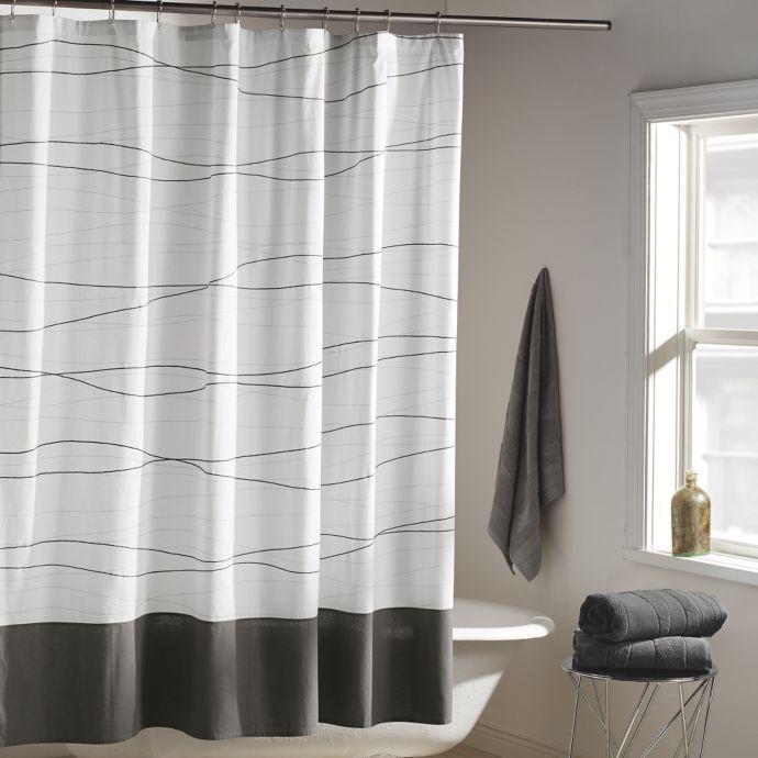 Dkny Wavelength Shower Curtain In Grey Gray Shower Curtains White Shower Curtain Shower Curtain Decor
