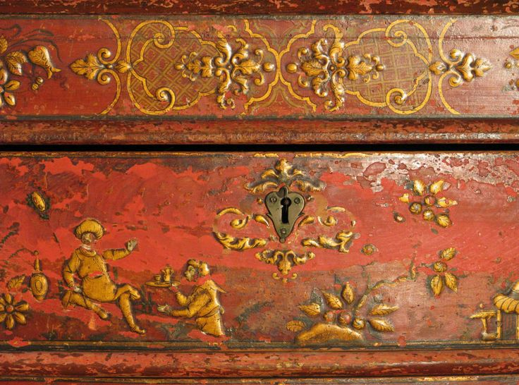 Chinoiserie is the oriental influence ineurope and America during baroque and rococo designs.  This uses oriental scenes, attice designs and oriental motifs such as dragons.