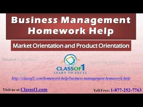 Market Orientation and Product Orientation: Business Management Homework Help by Classof1.com - YouTube. Watch the video at https://www.youtube.com/watch?v=ZOQJvn4YxII