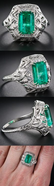 Art Deco Emerald Ring via @LangAntiques. A bright, glistening green and elegantly proportioned emerald-cut emerald, weighing about 2 carats, gleams from atop an exquisite, decoratively pierced and beveled geometric mounting, crafted in platinum -...
