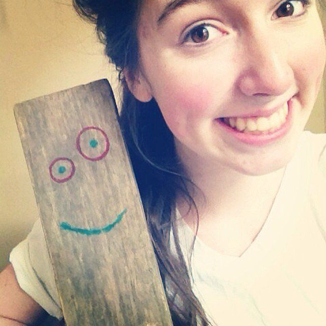 Simply draw a face onto some wood for a simple-yet-nostalgic getup.