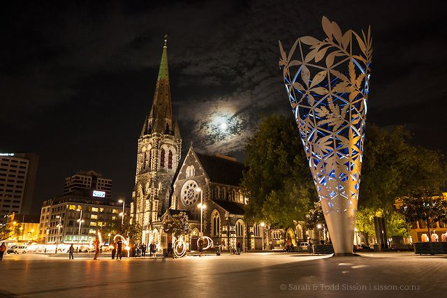 Cathedral Square at night with the Christchurch Cathedral and the Chalice…