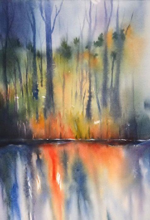 Watercolor Painting PRINT Landscape Art,Modern Abstract Art,Blue Orange Painting Landscape,Sunset Print Art,Tree Art,Water Reflection Shadow by NancyKnightArt on Etsy https://www.etsy.com/listing/220856170/watercolor-painting-print-landscape