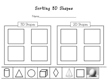 Students sort the 3D shapes from the 2D shapes by cutting and gluing in the correct box....