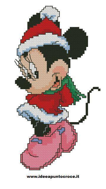 minnie natalizia punto croce