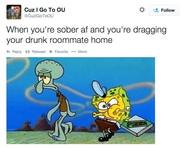 Being the designated walker. | 22 Struggles Every Pair Of Roommates Goes Through
