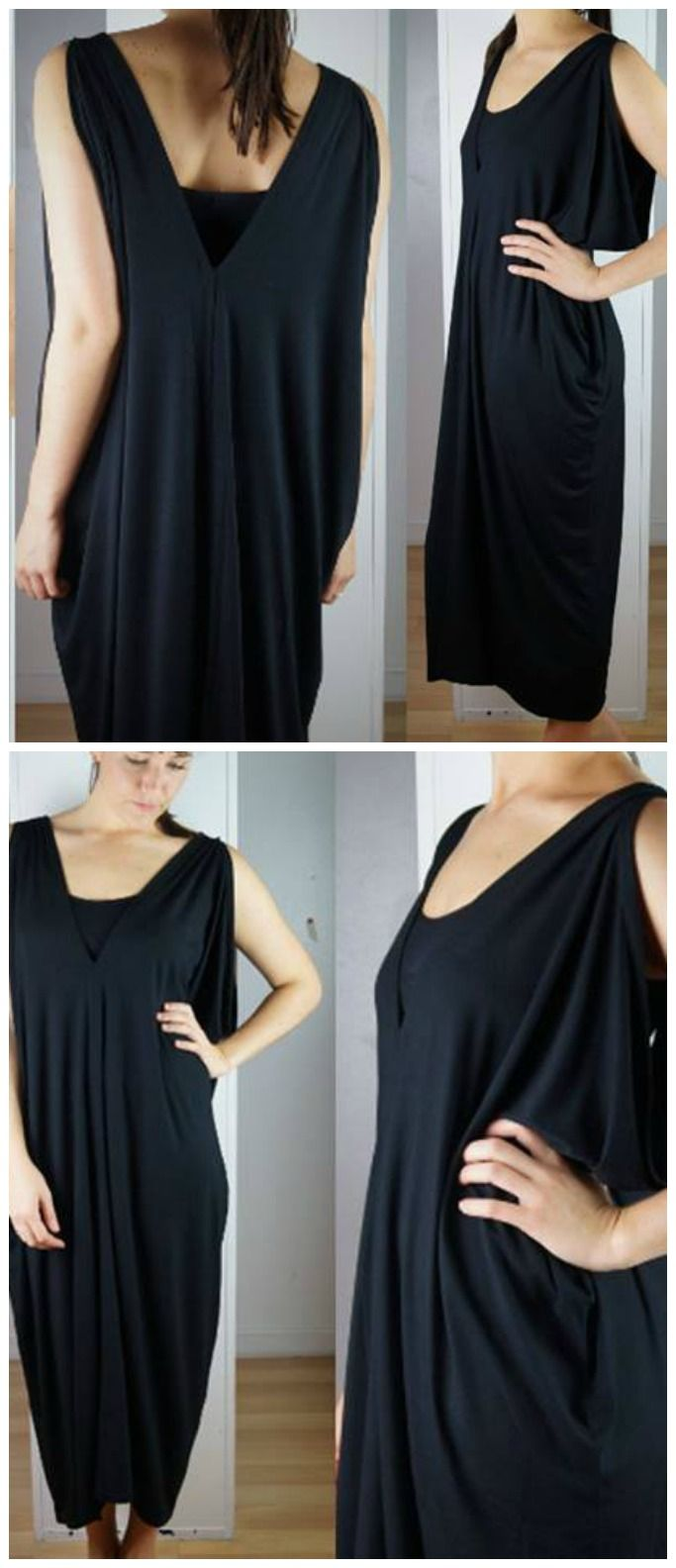 This Grecian style jersey kaftan dress is a great medium between sleek and boho. Compliments your curves and caters well for sizes from 10 through to 22. A great basic that offers enough flair to stand alone while plenty of potential to be jazzed up. This black v-neck drapes stylishly from the shoulders creating dips and flows in all the right places, perfect for our plus size goddesses!  Wrinkle-free and great for travel. <3