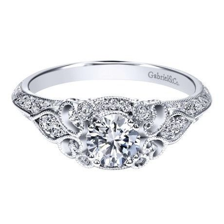 14K White Gold .76cttw Ornate Vintage Style Round Diamond Engagement R | Mullen Jewelers