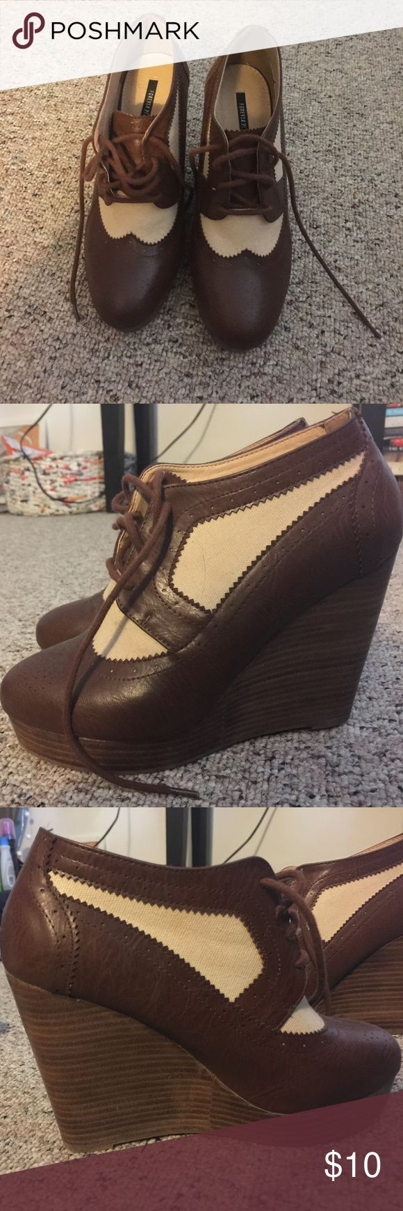 Oxford Wedges Only worn once, oxford wedges! A couple tiny scuff marks but other than that they are in perfect condition! They have laces at brown and tan. Forever 21 Shoes Wedges