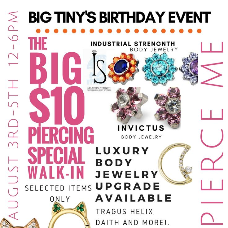BIG TINY'S BIRTHDAY $10 PIERCING WALK-IN  SPECIAL! 🎂🎂🎂🎂STARTS NEXT WEEK!!! Thursday August 3rd – Sat August 5th 2017. MARK your calendars! Get READY 4 THE LONG LINES!!!! 😍💟👗🕶👜👡 💟DON'T  WANNA  MISS ANYTHING @ PIERCE ME? Don't worry! JOIN PIERCE ME! 💟{PM}♡ @ LovePierceMe.com   Never miss the inside scoop, add your fave piercings, body jewelry and more 2 your WISHLIST. 💟Catch the Hot Summer $20 &up piercing SALE online TODAY! OR 💟CATCH the WALK-IN 2 FOR $60 SALE TODAY!!! Collect You FAVE SQUISHES $5 w/ purchase of piercings, 🍫🍰🌭🍟🍩🍭 301-967-SEXY (7399)   #Summer #July #Shoponline #Shopping #College #love #bodyjewelry #accessories  #fashion  #instagood  #hair  #picoftheday  #pierceme  #ilovepiercemee  #lovepierceme   #arlington #maryland #NewYork #HowardUniversity #GeorgeWashingtonUniversity #dmv #virginia #PrinceGeorgesCounty #Baltimore #WashingtonDC