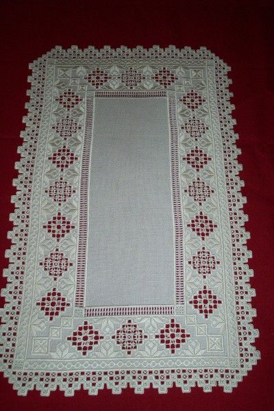 Hardanger Table Runner on Mushroom Lugana