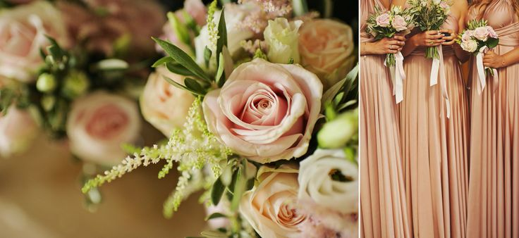 Inspiration of light pink hues... Roses and bride mades match perfectly <3
