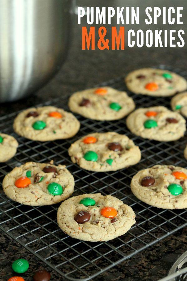 Delicious Pumpkin Spice M&M cookies