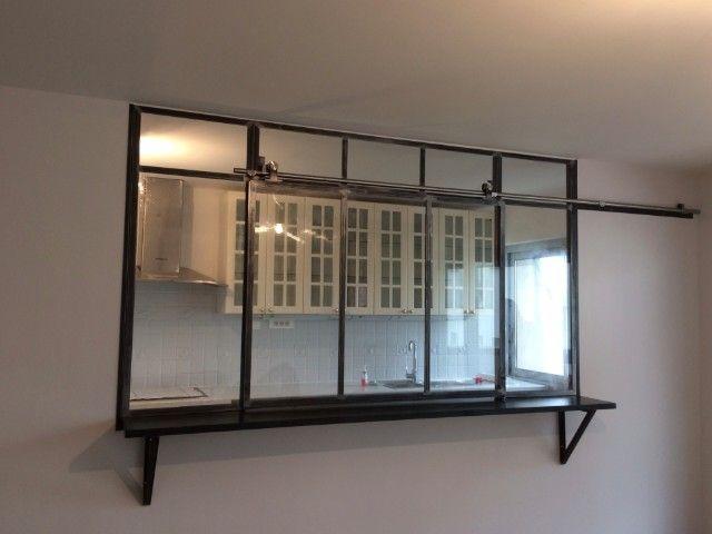 verrière cuisine fenêtre coulissante - Verrières d'intérieur - Ghislain Antiques