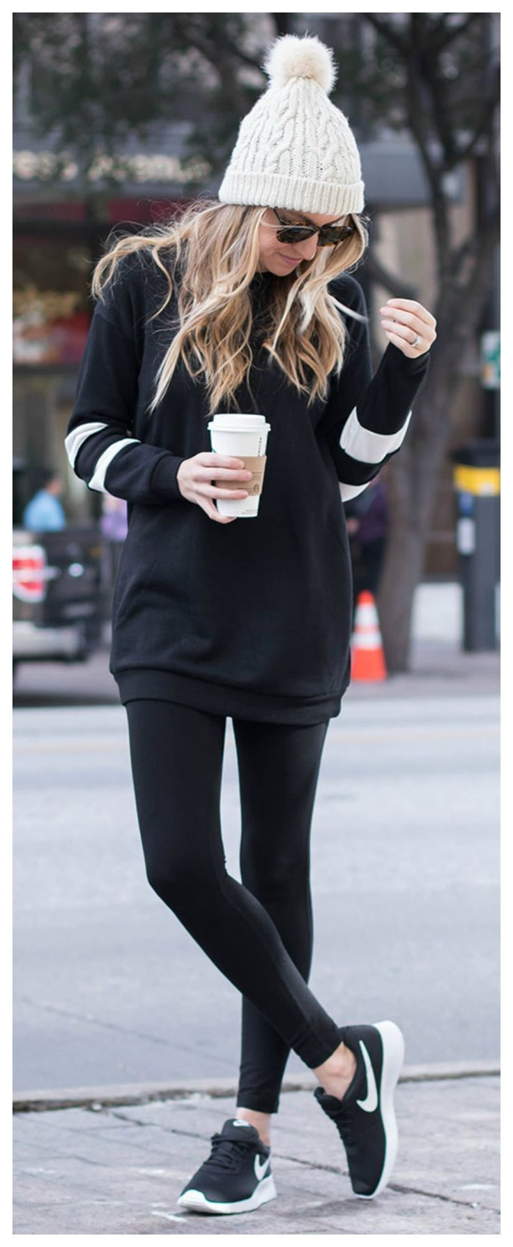 The perfect winter outfit! Black leggings, tunic sweatshirt, beanie, and Nikes. Athleisure Look- Life By Lee
