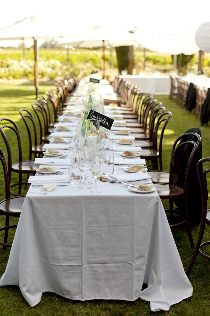 Long tables setup in The Rose Garden