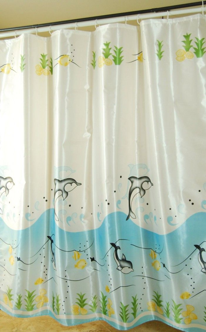 Under the sea peva shower curtain blue walmart com - Dolphins Fishes Blue White Green Shower Curtain Foregather Net