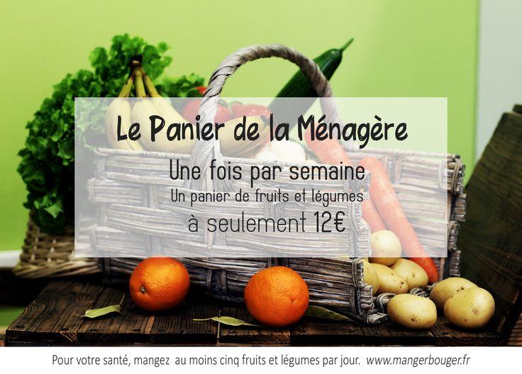 Pour vous cette semaine, un panier fraîcheur d'une valeur de 17€ vous est proposé à seulement 12€ ! Composée de fruits et légumes divers et variés : vous pouvez confectionner un bon repas, de l'entrée au dessert. Venez profiter de cette offre exclusive en magasin. A bientôt au Panier de la Ménagère.   https://www.facebook.com/LePaniermenagere?ref=tn_tnmn