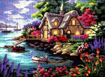 Dimensions #needlepoint  Cottage Cove #DIY #crafts #decor #needlepoint #stitching #gift